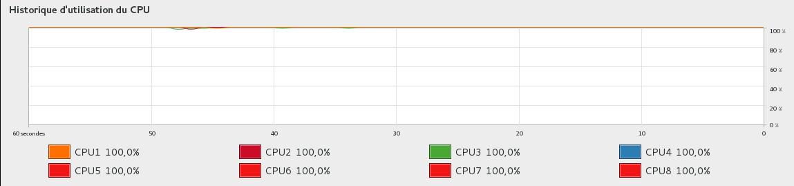 utilisation CPU pour casser un P12 sur un Xeon avec 8 CPU