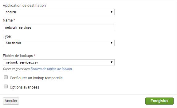 logs iptables dans Splunk - lookup services